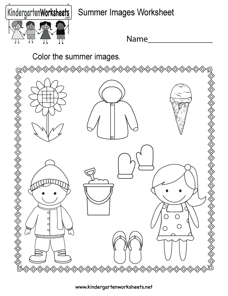 This is a summer items worksheet for kindergarteners. You