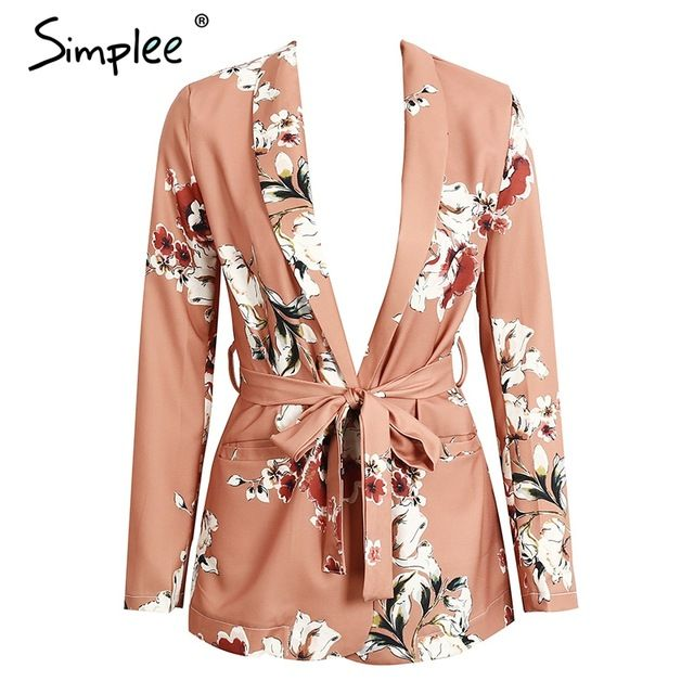 Special price Simplee Fashion flower print sashes suit jacket coat Pocket long sleeve jacket women Lace up belt coats outerwear suit  just only $18.99 with free shipping worldwide  #womanjacketscoats Plese click on picture to see our special price for you