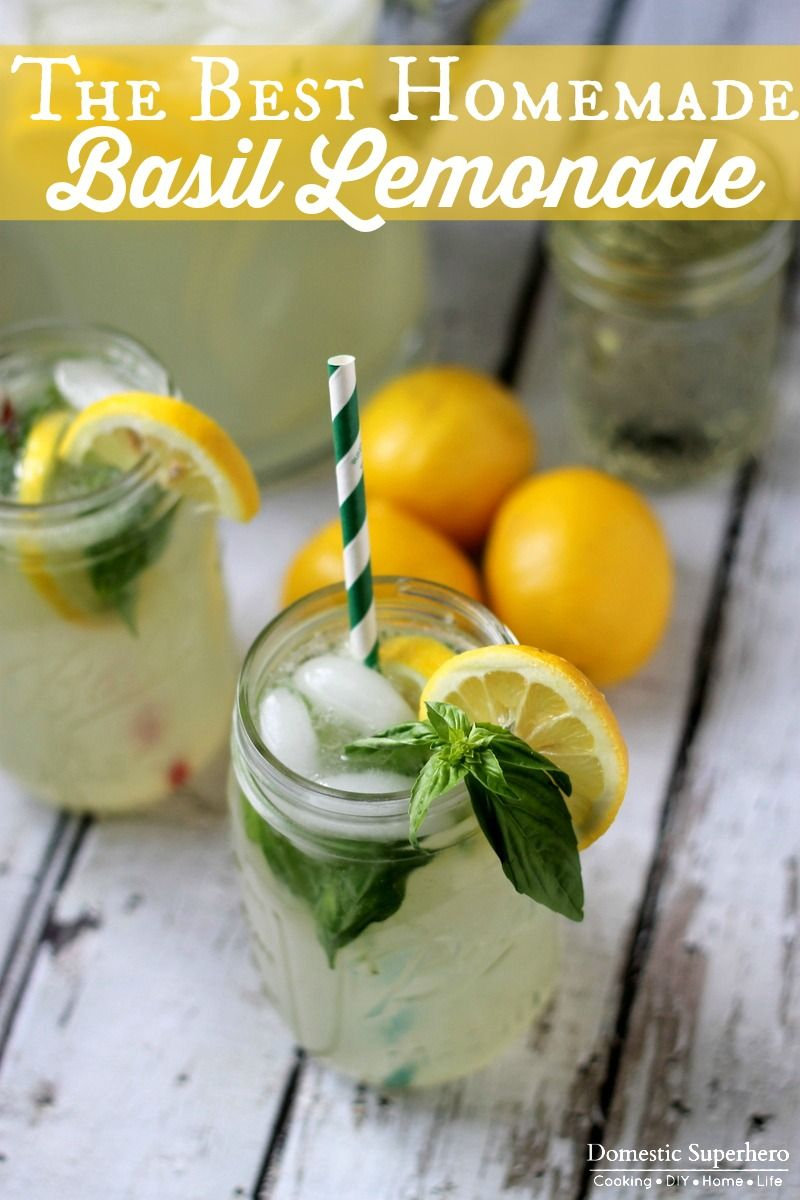 The BEST Homemade Basil Lemonade - perfect for summer basil! #basillemonade