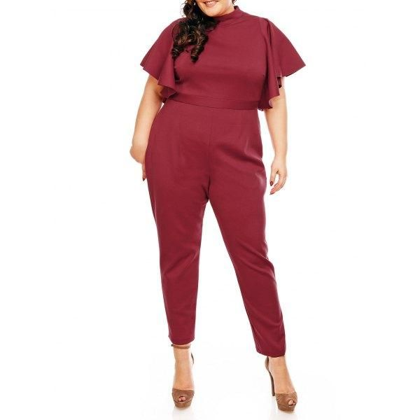#Rosewholesale - #Rosewholesale Plus Size Ruffles Sleeve High Waist Jumpsuit - AdoreWe.com
