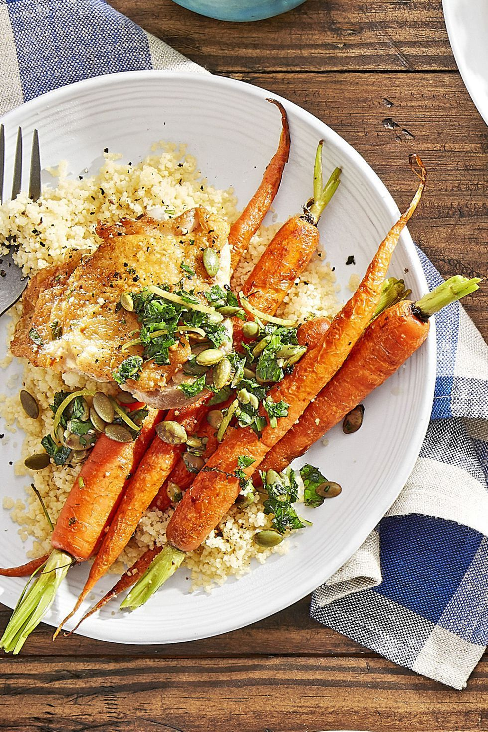 Crispy Chicken With Roasted Carrots And Couscous Recipe Romantic Dinner Recipes Easy Carrot Recipes Romantic Meals