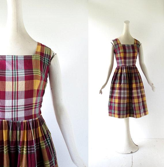 1950s Camp Narragansett plaid dress