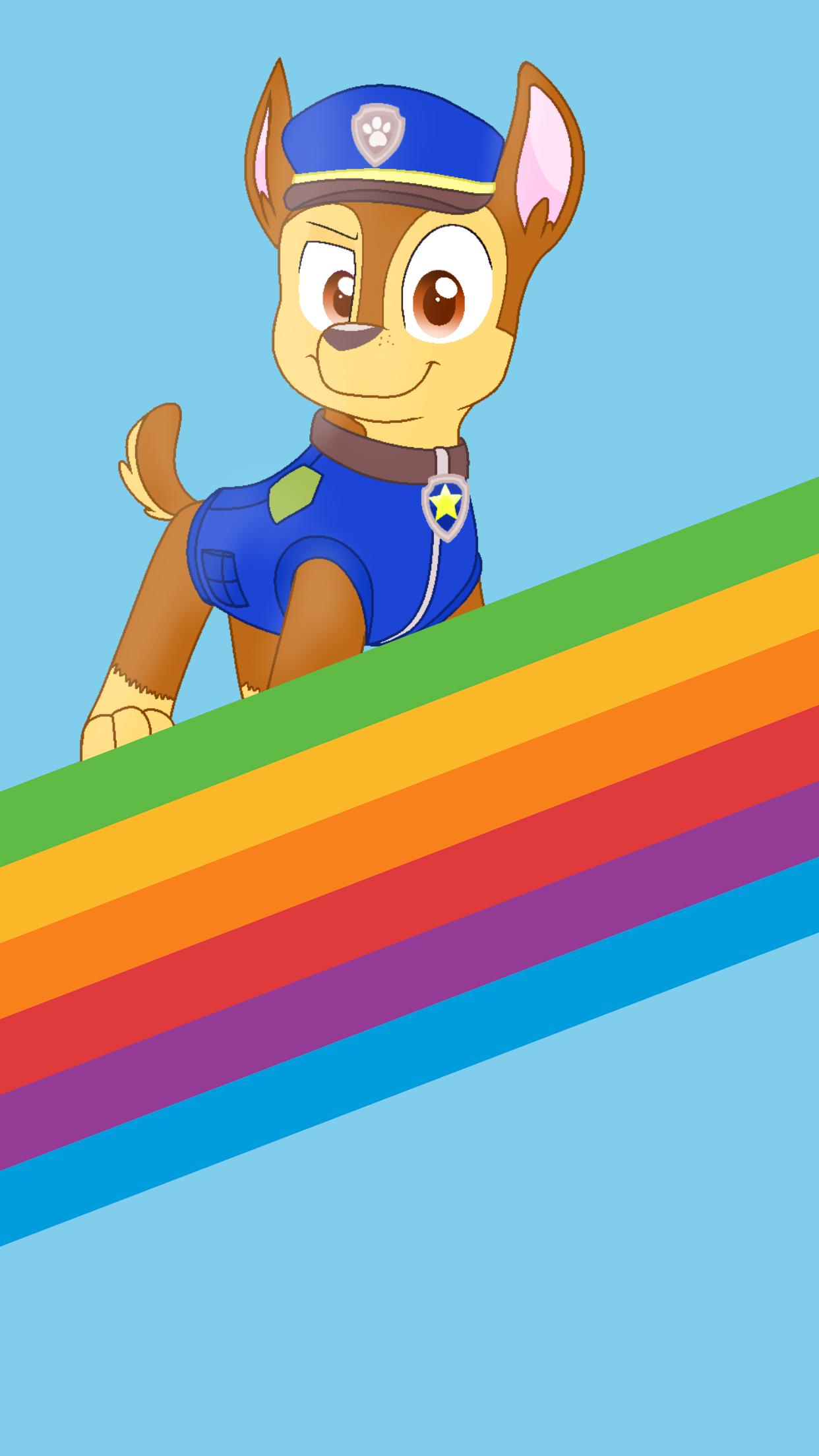 Apple Iphone Wallpaper Chase Rainbow Stripe Chase Paw Patrol Paw Patrol Birthday Paw Patrol Characters