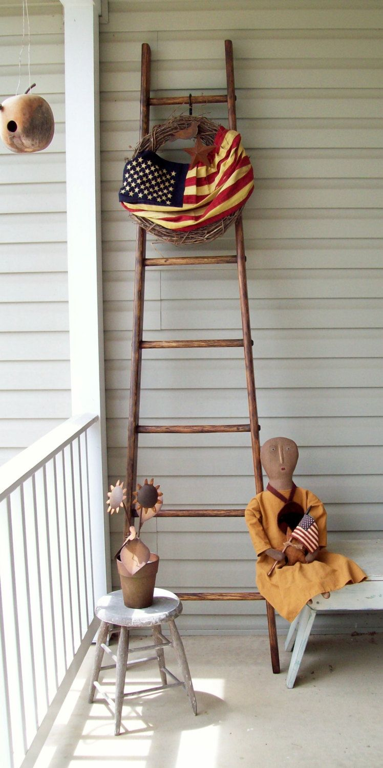 Father S Day Only 20 All Ladders Apple Orchard Ladder 8 Ft Authentic Refinished Or Plain Folk Art Plus Free Flag Offer Thru Jun Ladder Free Art Folk Art