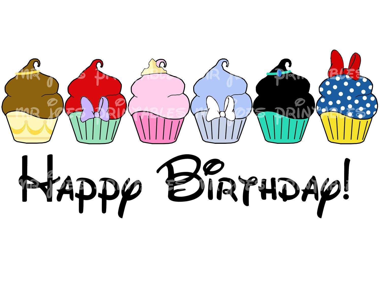Princess Cupcakes Happy Birthday Disney Snow White