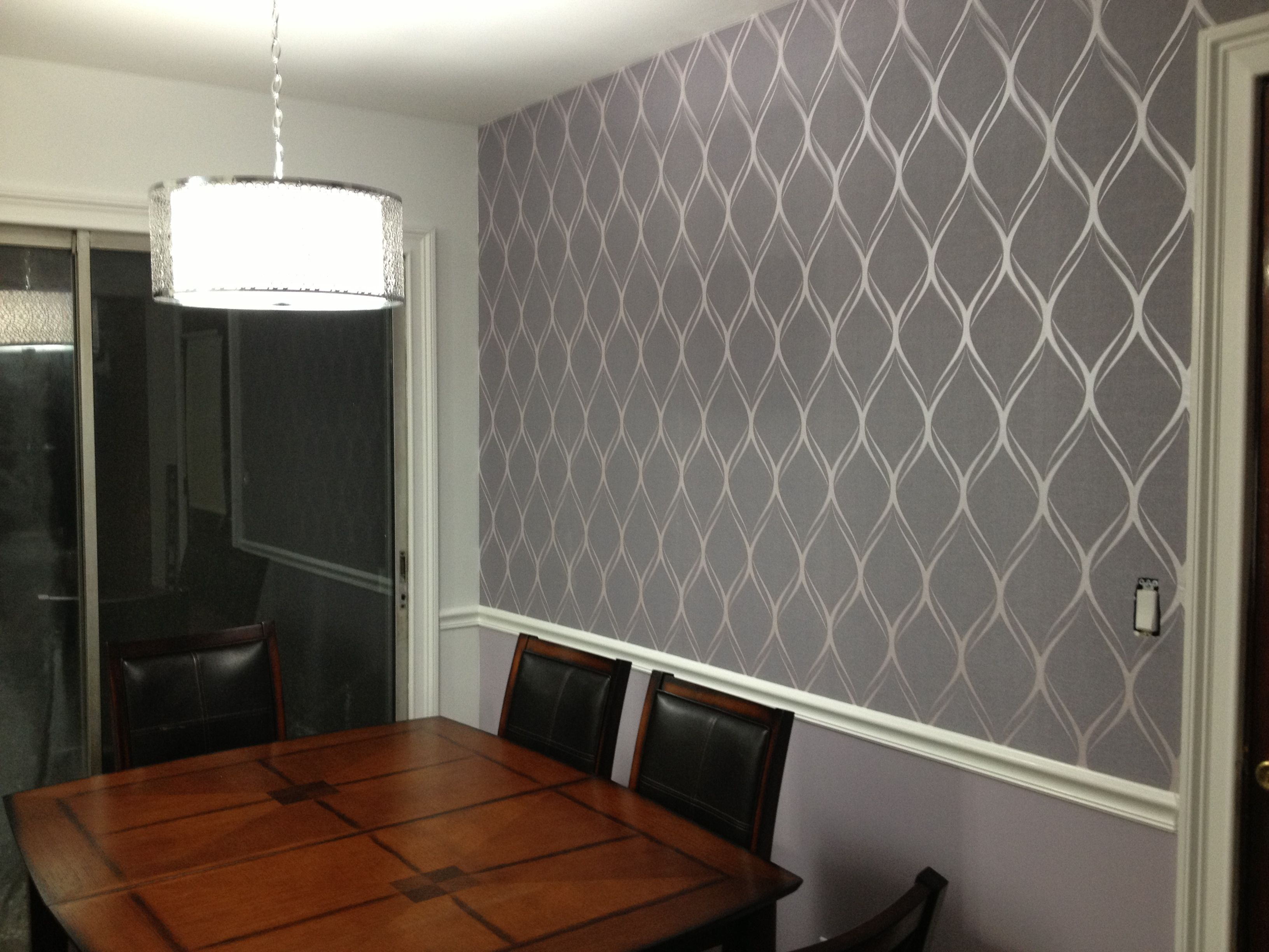 Platinum by decorline wallpaper white semi gloss chair rail and