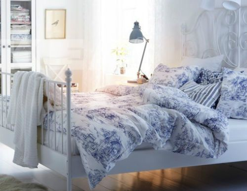 King Quilt Duvet Cover 3 Pcs Set Ikea Emmie Land French Country Blue White Nip