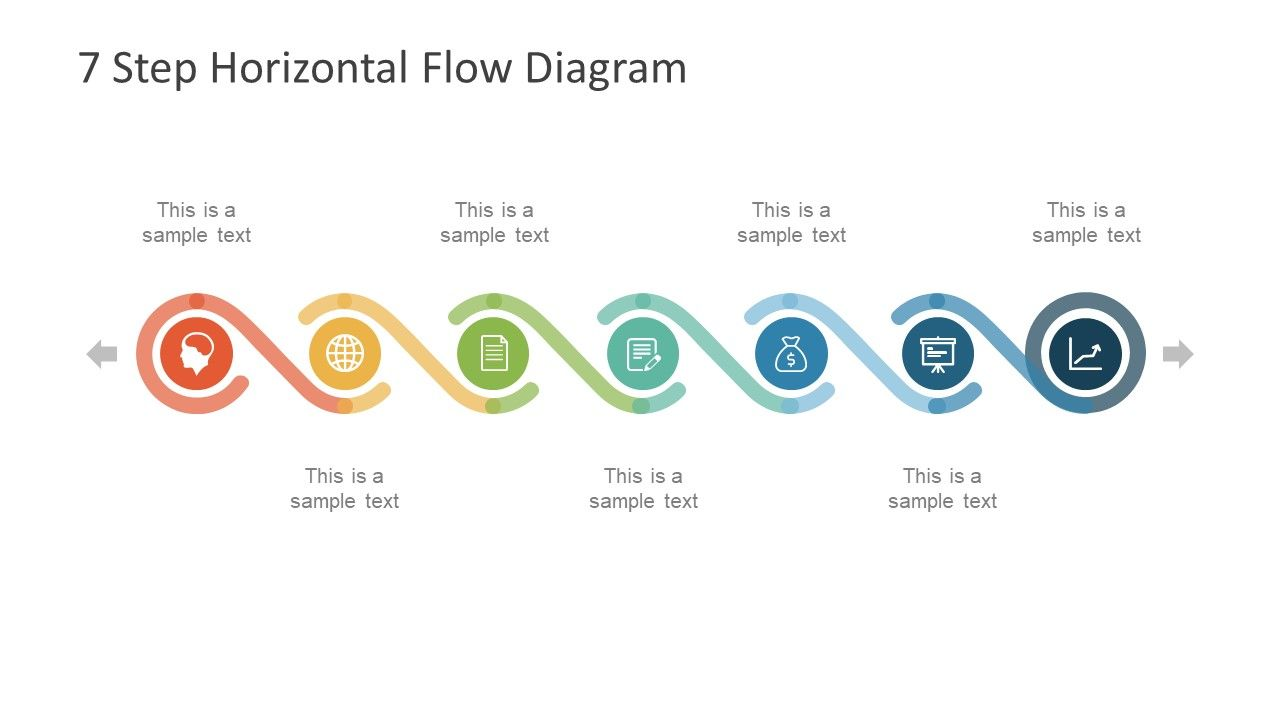 7 Step Horizontal Flow Diagram For Powerpoint Slidemodel Process Flow Chart Template Flow Chart Template Timeline Infographic