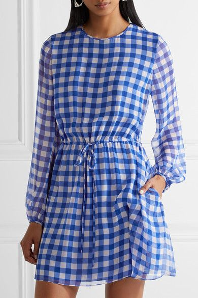 Gingham Silk-chiffon Mini Dress - Blue Diane Von F 6Vmmkh