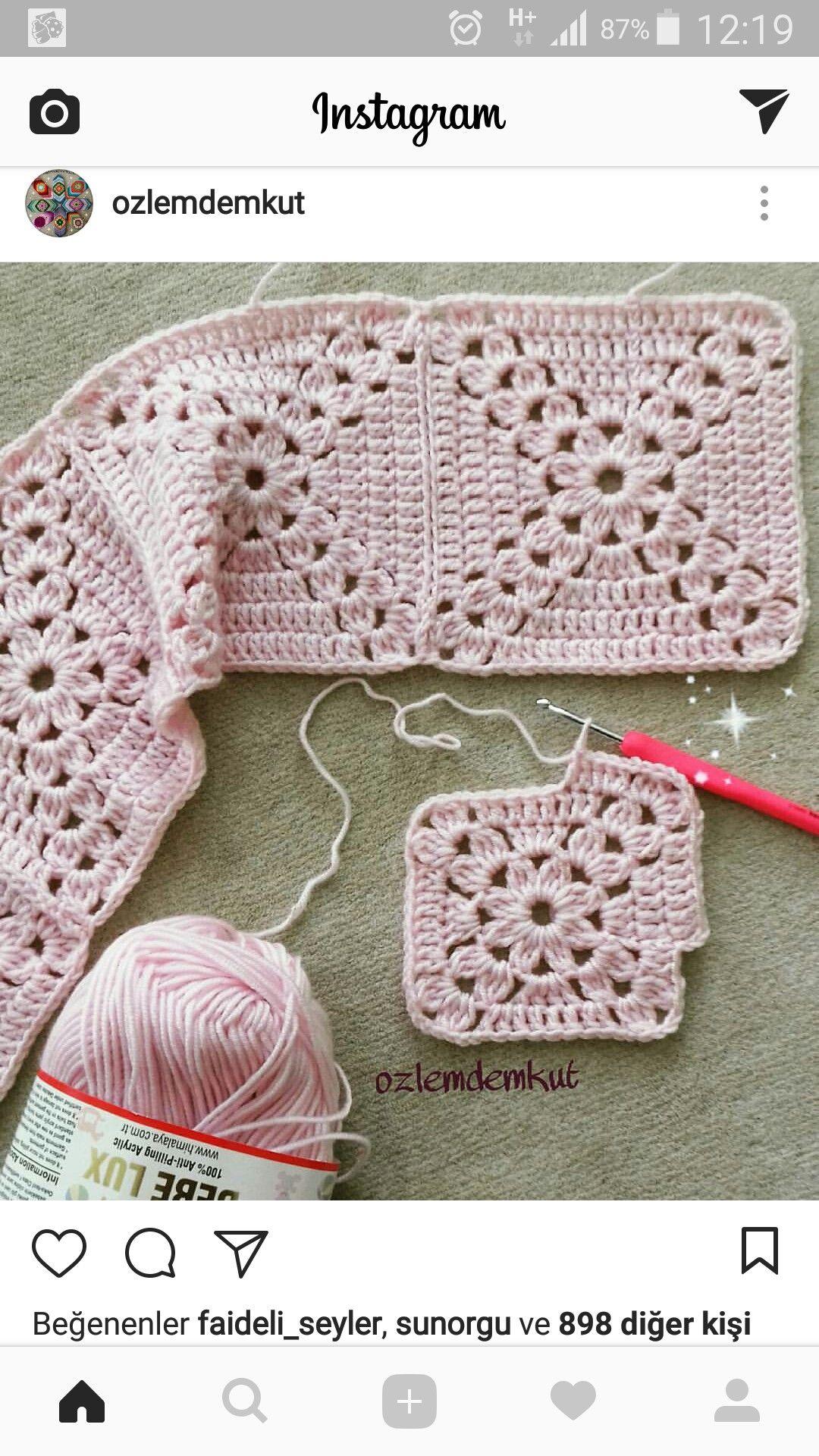 Pin By Guldenur Zeybek On Koltuk Sali Crochet Square Patterns Crochet Motif Granny Square Crochet Pattern