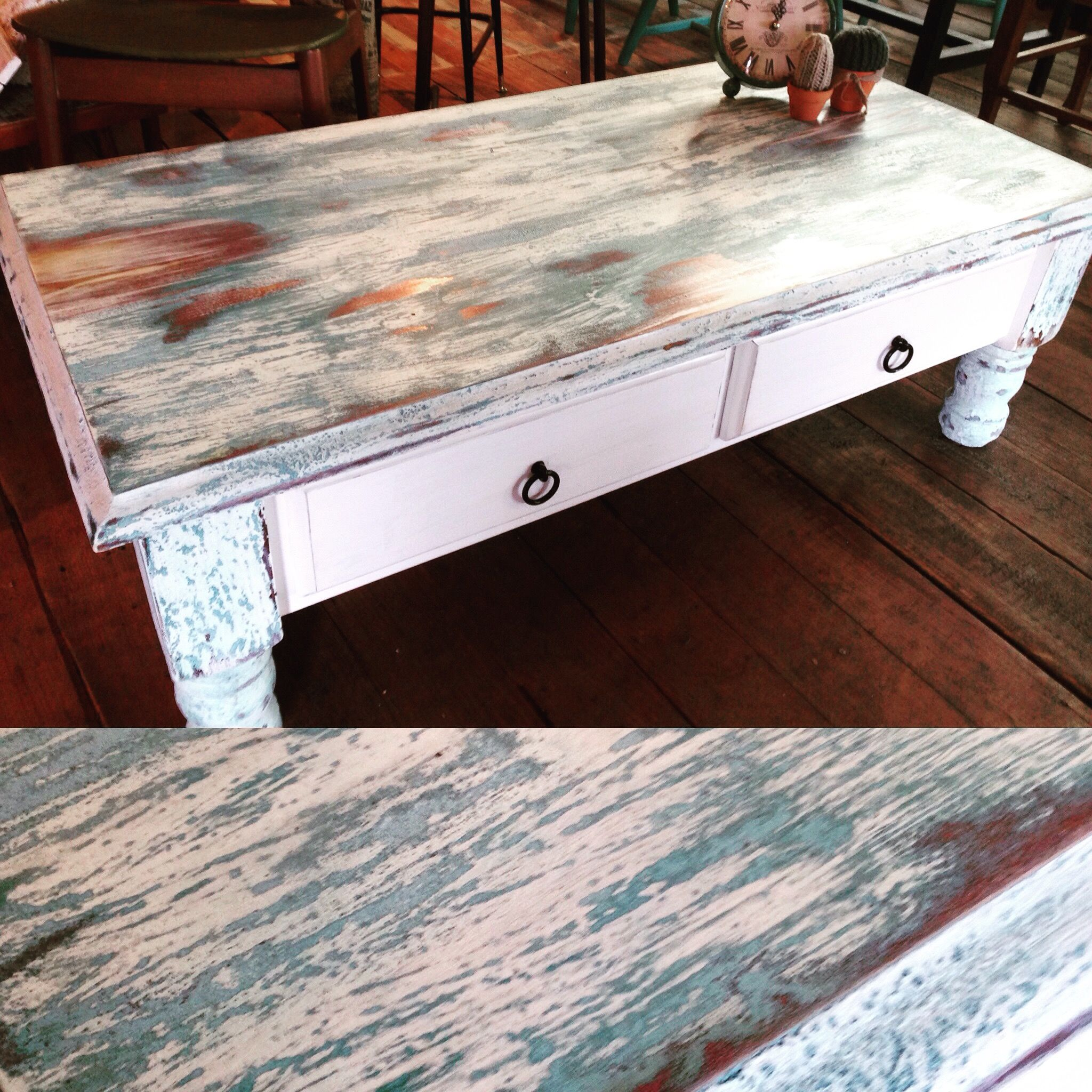 Hamptons coastal style coffee table with two drawers with a
