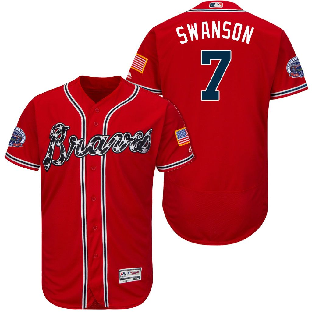 2017 All Star Patch 7 Dansby Swanson Atlanta Braves Red Flex Base Jersey Atlanta Braves Braves Jersey Jersey
