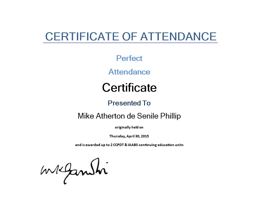 Attendance Certificate Sample In 2020