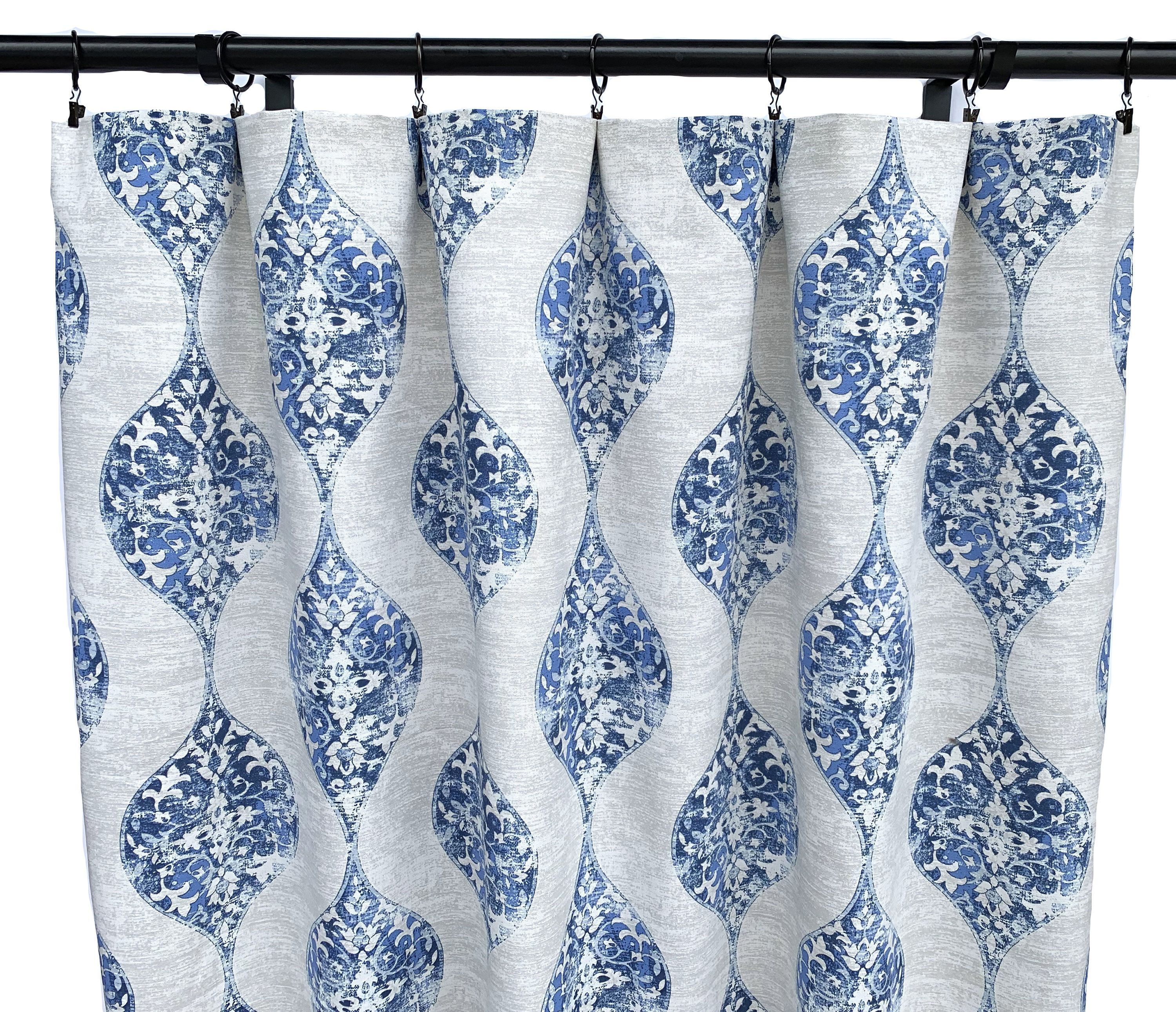 Blue Magnolia Curtains Blue And Grey Curtains 2 Curtain Etsy Blue Grey Curtains Grey Curtains Blue And White Curtains
