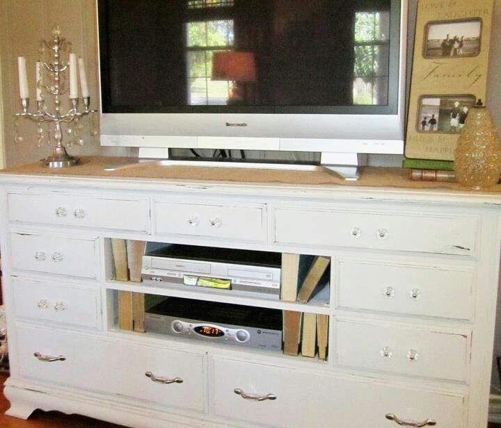 An Antique Dresser Turned Entertainment Center For The Living Room.
