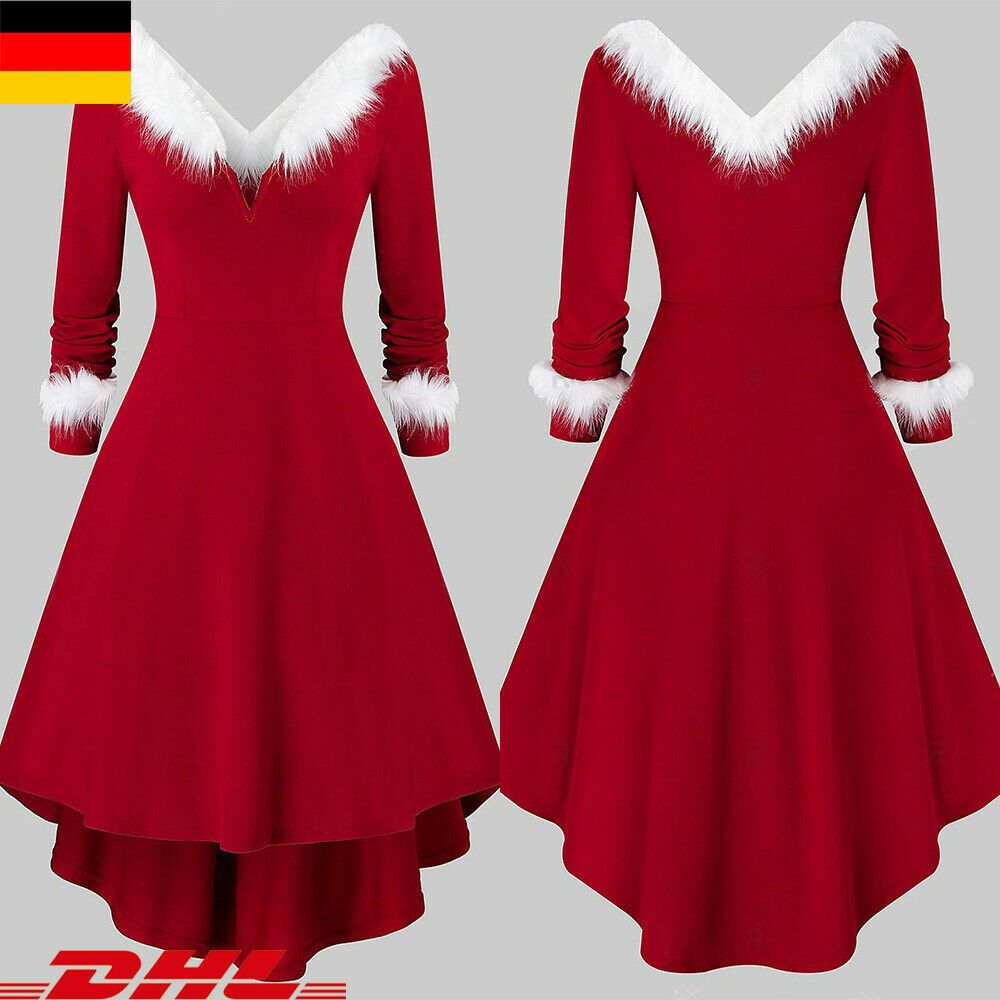 Damen V-Neck Weihnachten Partykleid Weihnachtskleid Xmas Swing