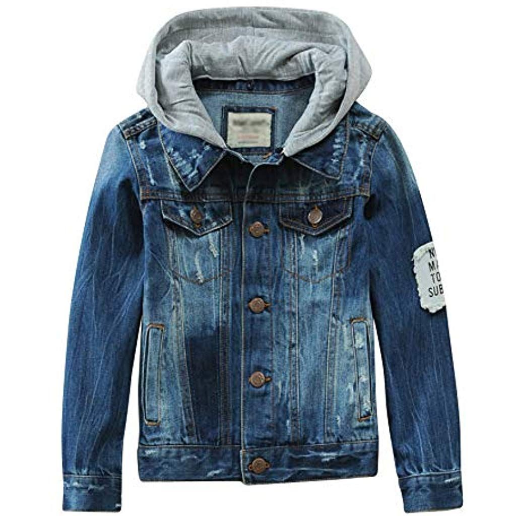 competitive price 40522 7553b LAPLBEKE Kinder Jungen Jeansjacke Mit Reißverschluss Jean ...
