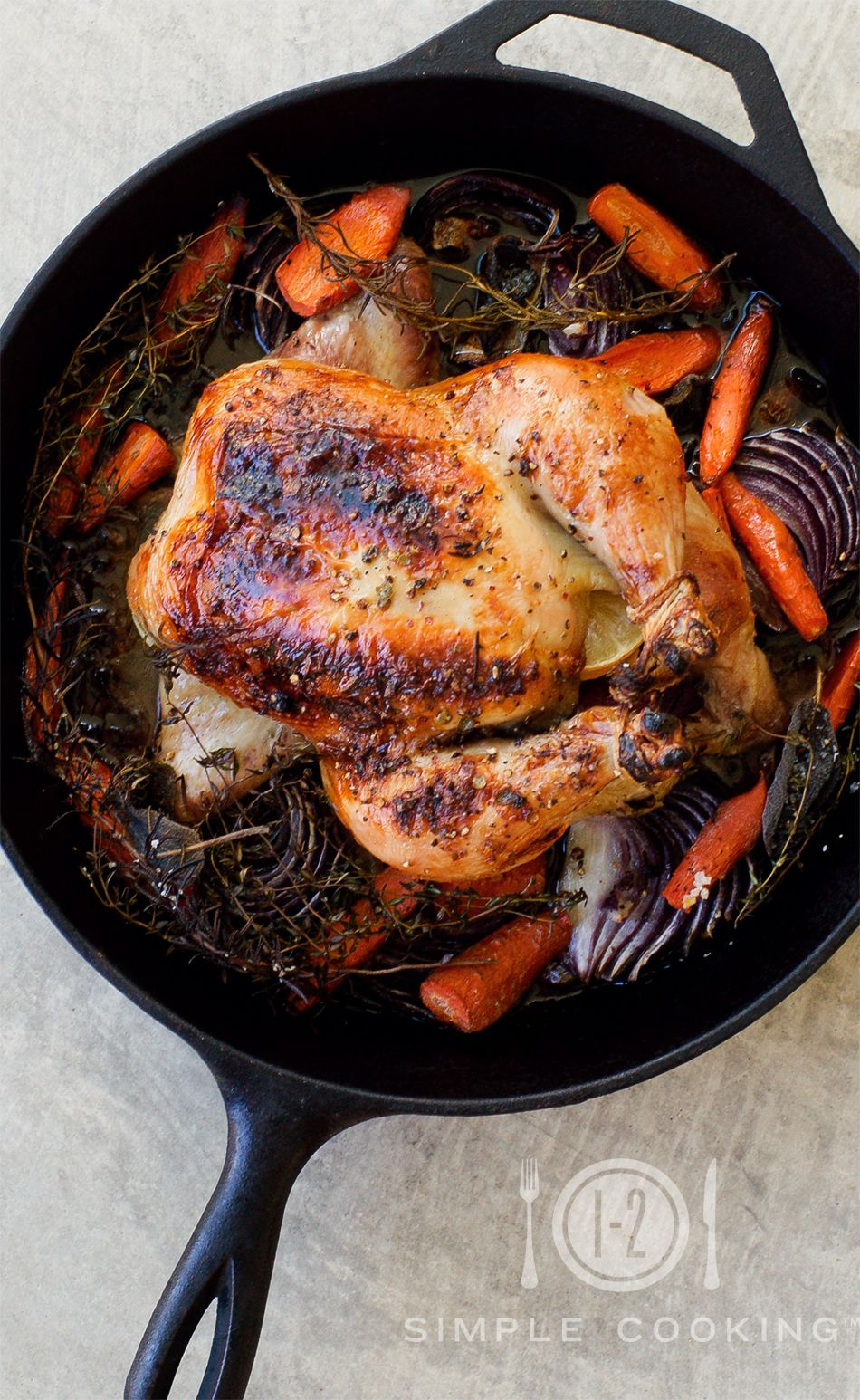Dinner Tonight- Roast Chicken with carrots, onions, thyme and crack rub from my friend Katie.