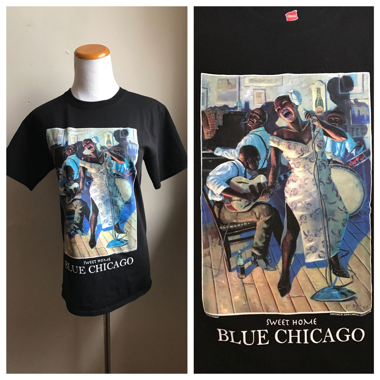 eca6df0763bb Vintage Blue Chicago Blues T-Shirt   Hipster Blues T Shirt   Soul Shirt    Black Art Shirt   T Shirt Collection Piece   90s Blues T Shirt by ...