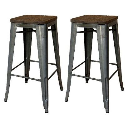Threshold Hampden Industrial 29 Barstool With Wood Top Set Of 2