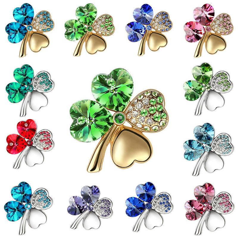Hotsales Baru Pabrik Partai Besar Berlapis Emas Austria Kristal Empat Daun Semanggi Bros Wanita Aksesoris Fashion Perhiasa Fashion Jewelry Brooch Women Jewelry