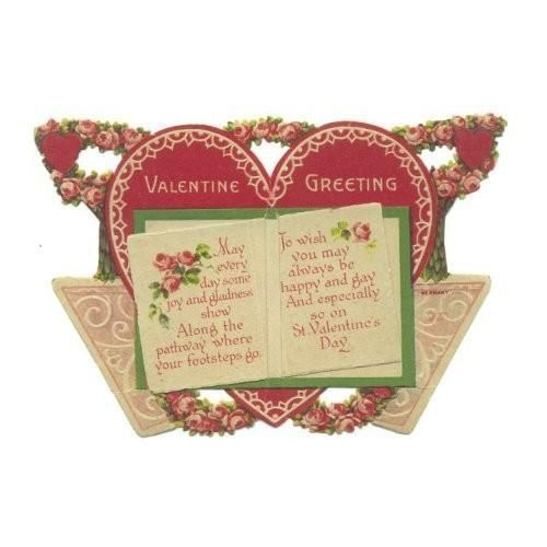 vintage 1930s heart shaped valentine greeting card open book