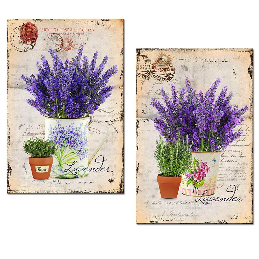 Lavender Canvas Wall Art Prints Classical Flower Picture Canvas Printing For Home Wall Decor Floral Bedro Oil Painting Pictures Decal Wall Art Canvas Pictures