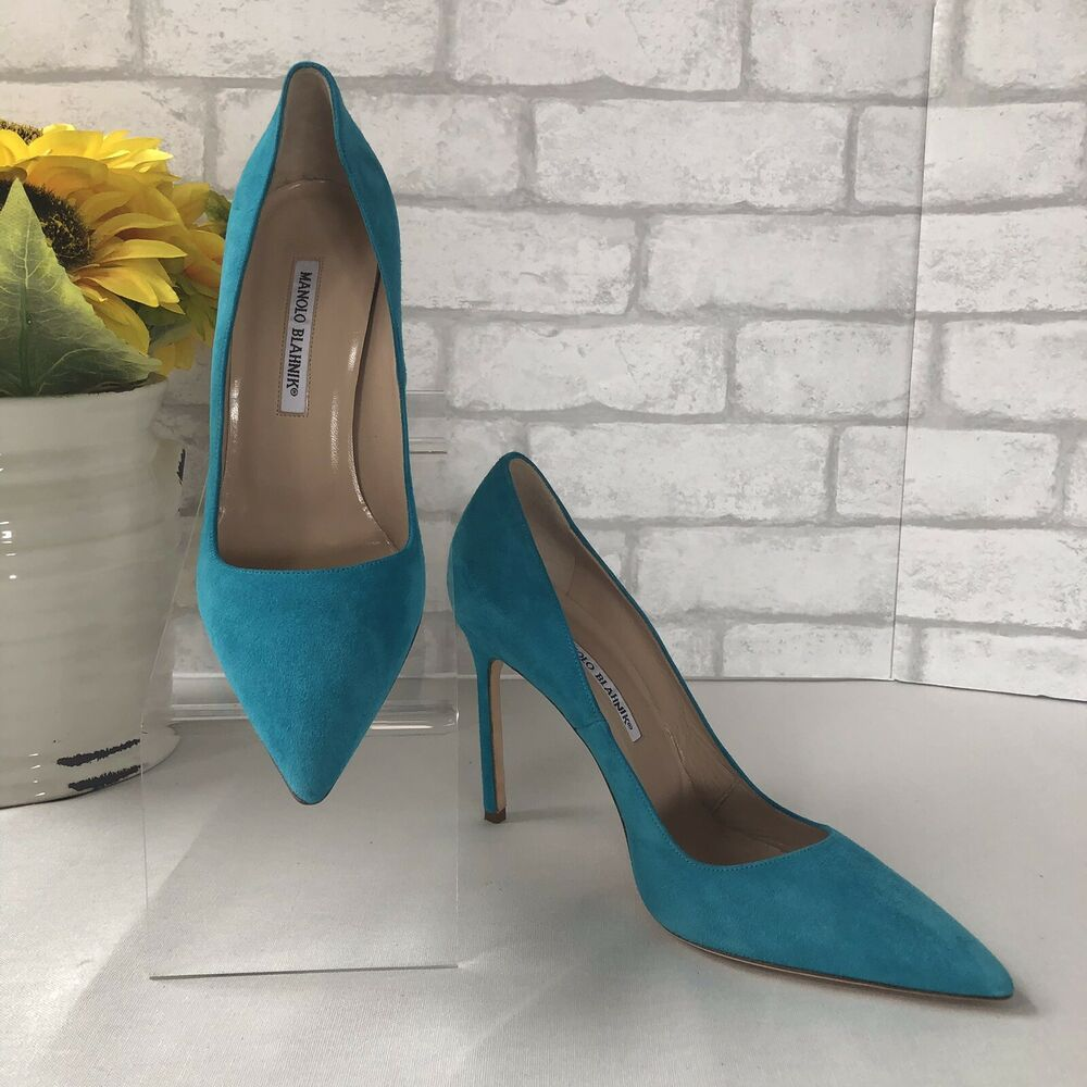 1bac6487f69a7 (eBay Advertisement) Manolo Blahnik BB Turquoise Suede pointed toe Pump  High Heels Sz 40