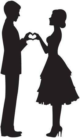 Illustration of silhouette of the bride and groom holding hands vector art, clipart and stock vectors. Image 20278189.