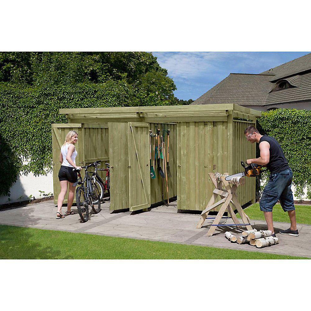 Gerateschuppen Typ 4 Geratehaus Holz 408x254 Cm Fahrradgarage Fahrradunterstand In Garten Terrasse Garten Fahrrad Unterstand Geratehaus Holz Fahrradgarage