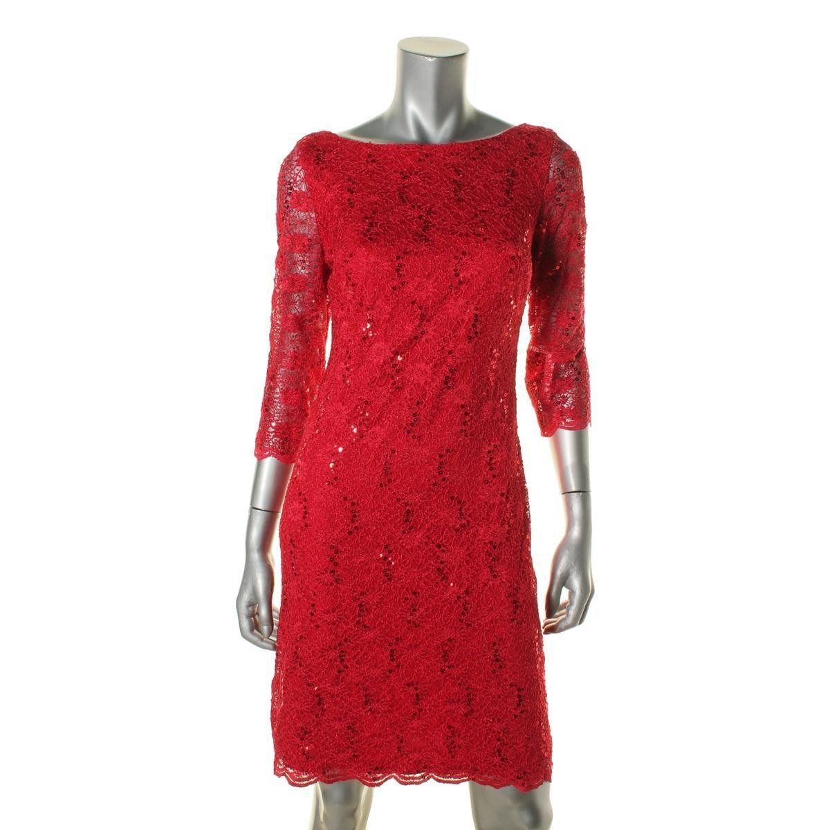 6e3188d6c5e Calvin Klein Womens Lace Sequined Cocktail Dress