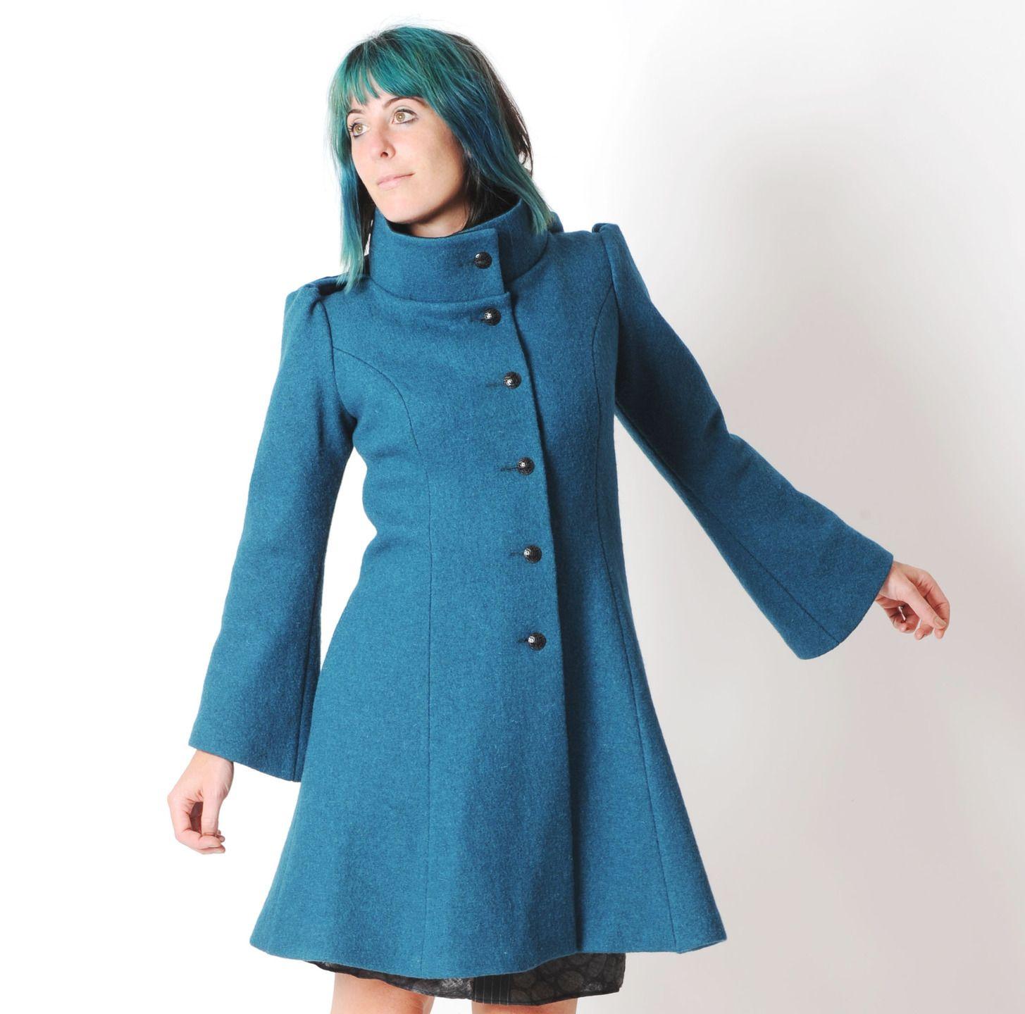 Manteau en laine bleu pétrole à capuche lutin, Manteau chaud d hiver, Votre… b6e67332eba2
