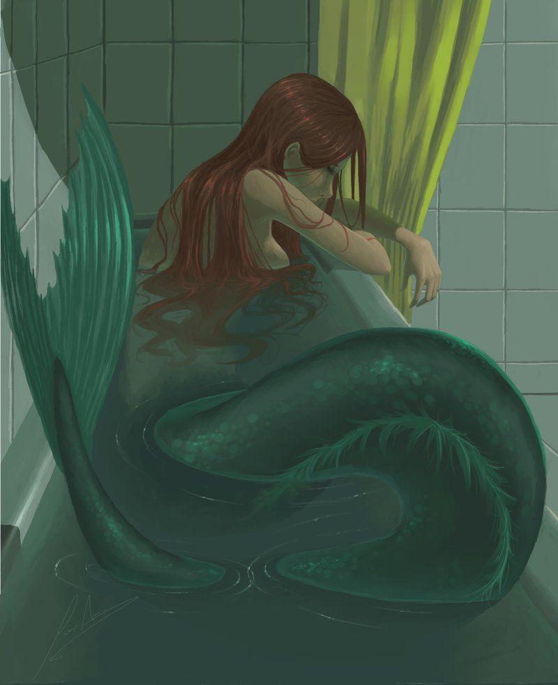 Mermaid in a bath tub by Spanish artist FullRing on deviant art #spanishthings