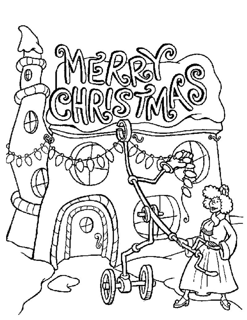 christmas lights coloring pages | adult coloring | grinch coloring