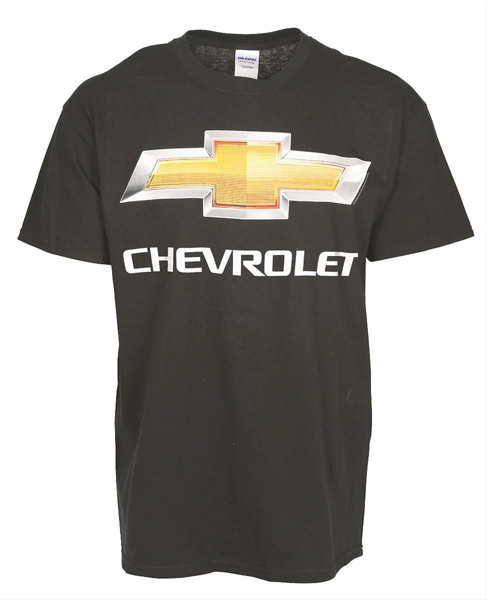 Chevrolet Chrome Bowtie T-Shirt:  You always look good in a bowtie, especially when it's a Chevy bowtie, styled to look like a reflector trimmed in chrome! 100% cotton T-shirt. Imported.