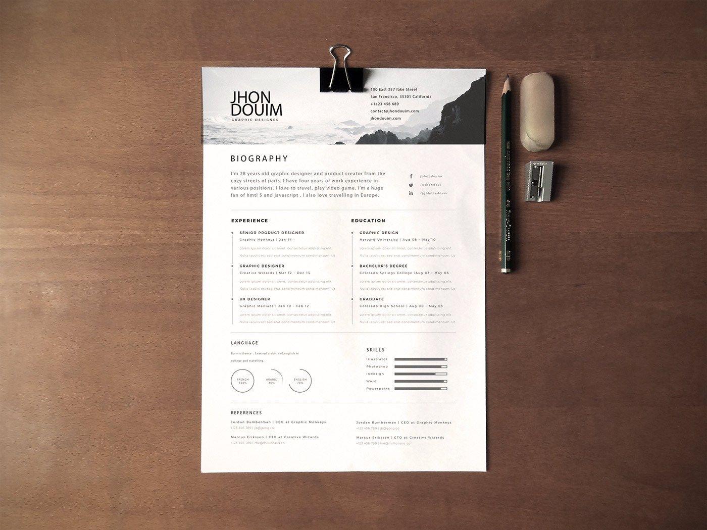 Free Resume ( PSD Gift ) Resume layout, Fashion resume