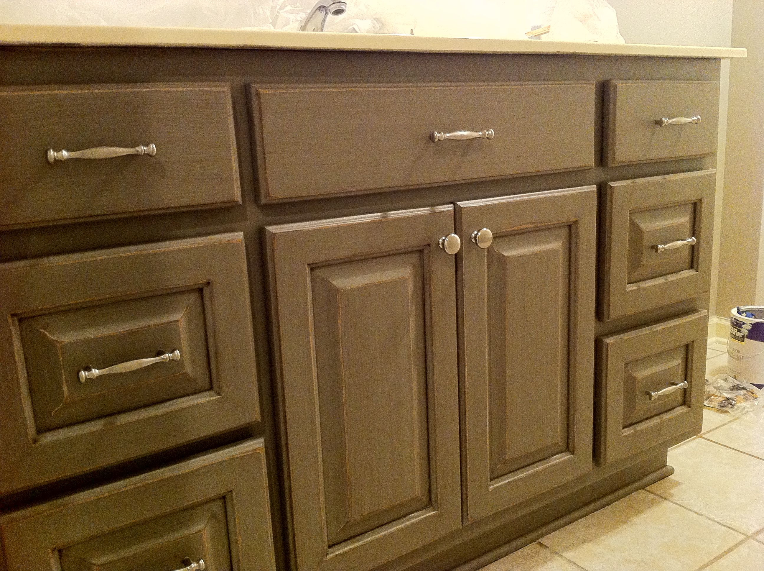 Dark Grey Cabinets, Distressed/Glazed   Grey cabinets ...