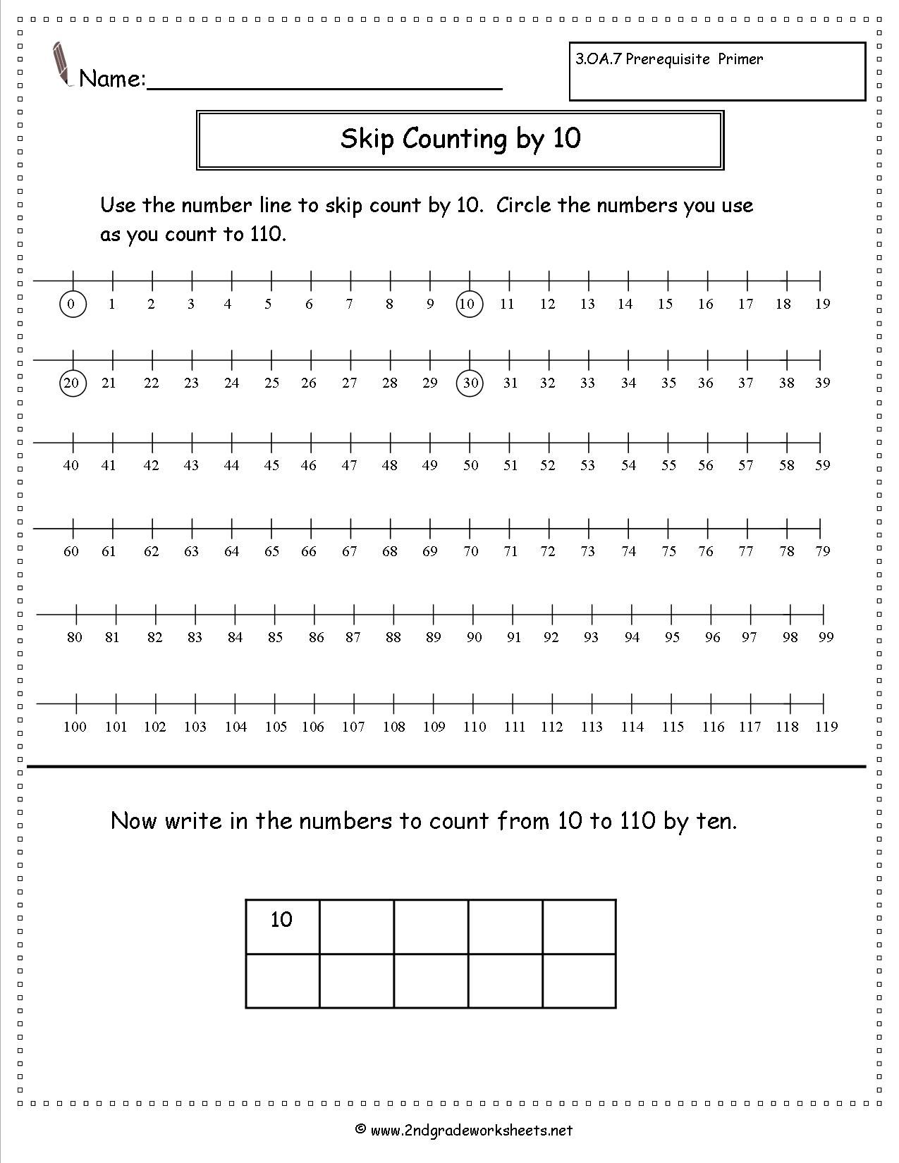 Skip Counting By Ten Worksheet