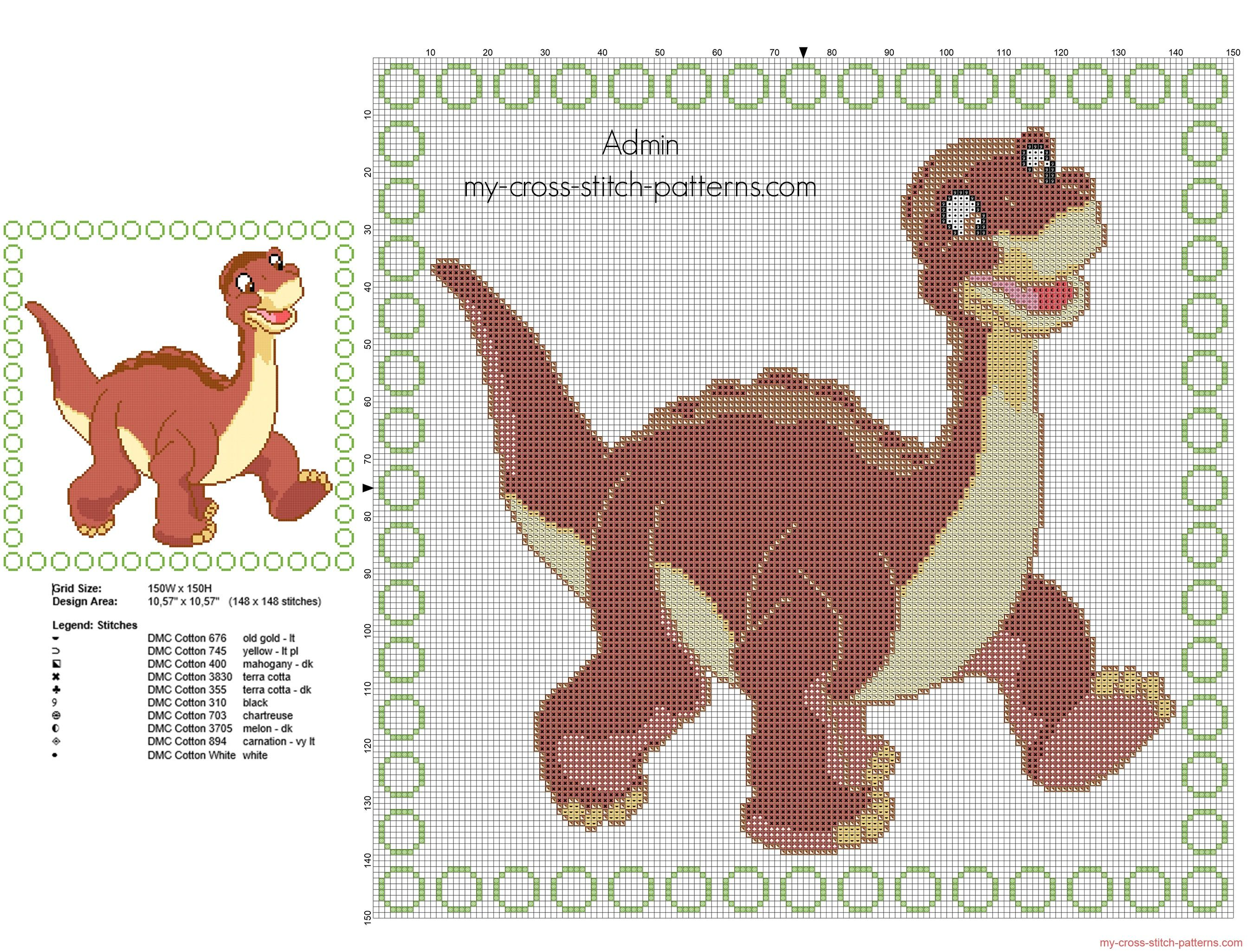 Cross stitch children pillow with Littlefoot from The Land Before ...