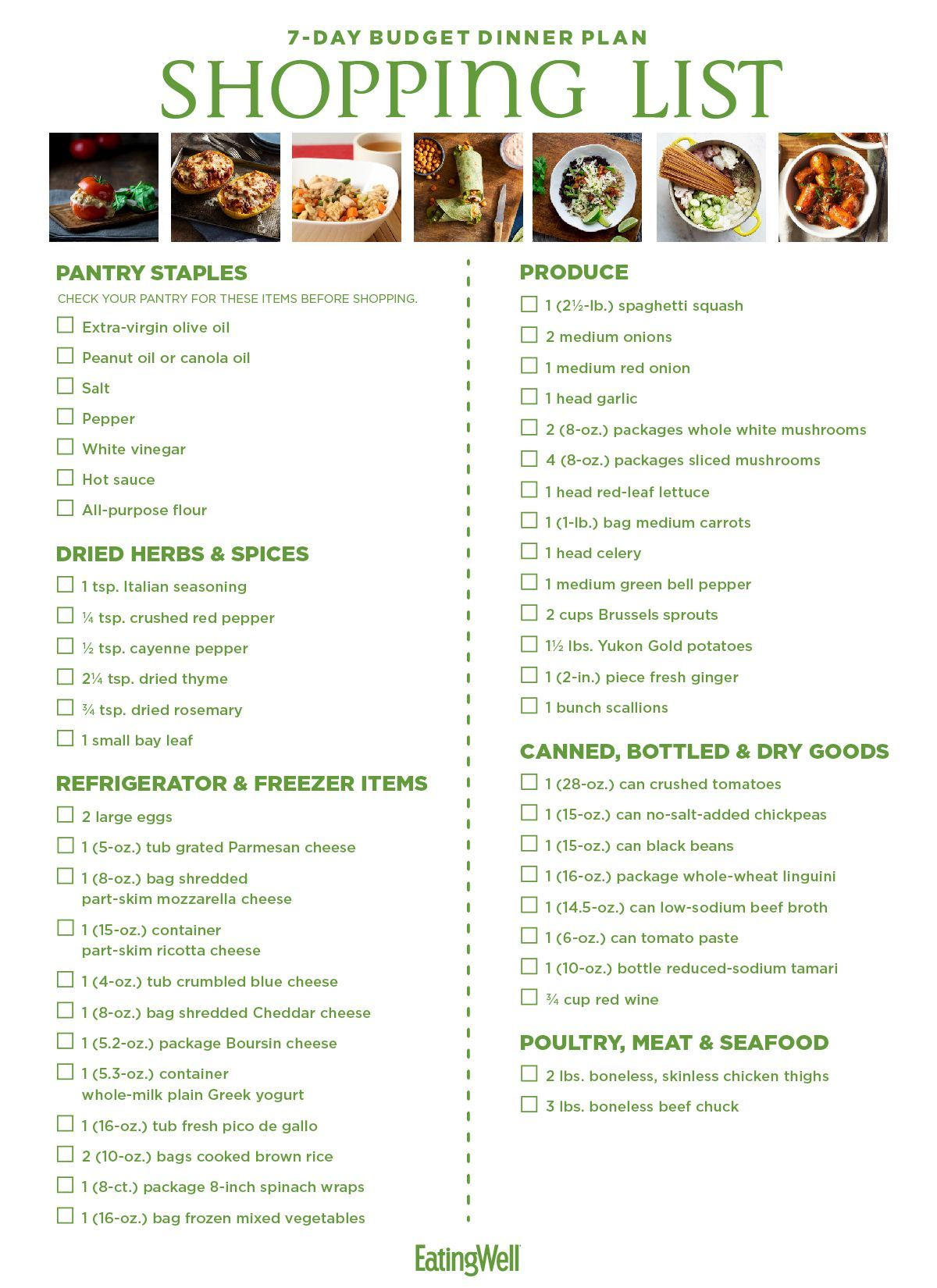 7-Day budget meal plan & shopping list - eatingwell images