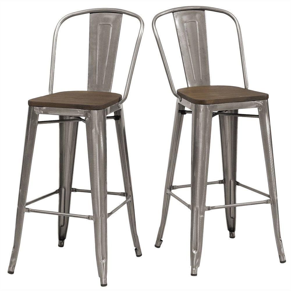 Tabouret Bistro Wood Seat Gunmetal Finish Bar Stools (Set