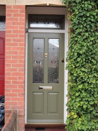 Traditional front door - French grey Kingston with bloom leaded stained glass and matching top & Traditional front door - French grey Kingston with bloom leaded ...