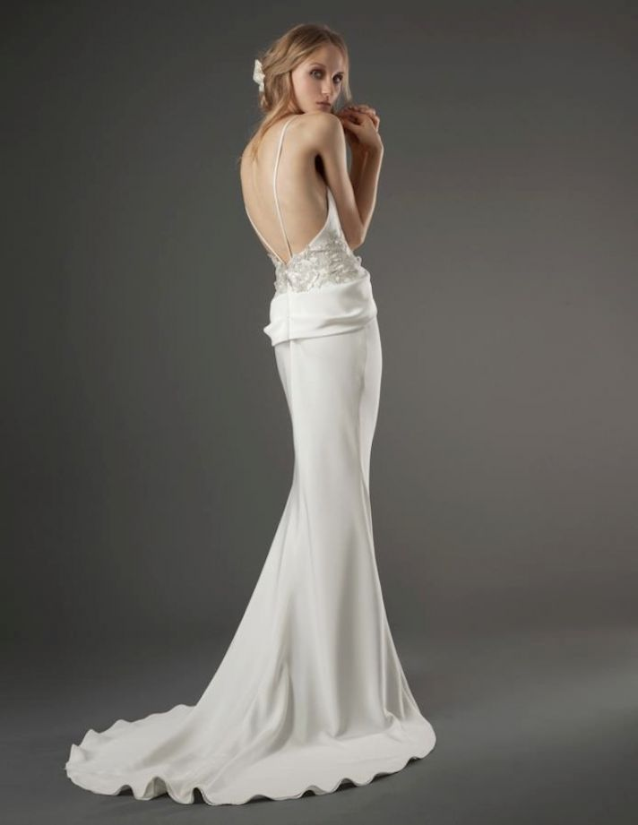 Grecian wedding dress backless with lace