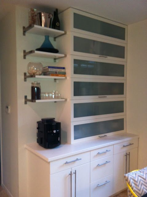 Kitchen appliance garage   ikea hackers wall by frig, with 30 ...