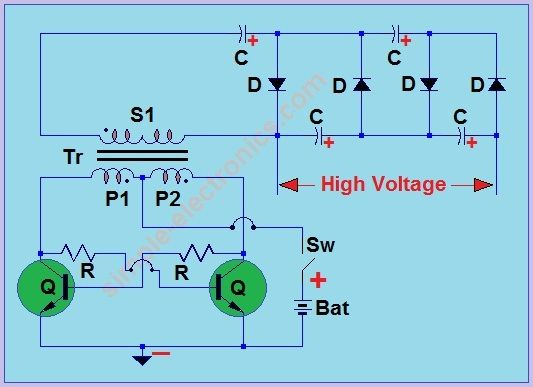 mosquito racket circuit simple electronics schematic mosquito racket circuit simple electronics