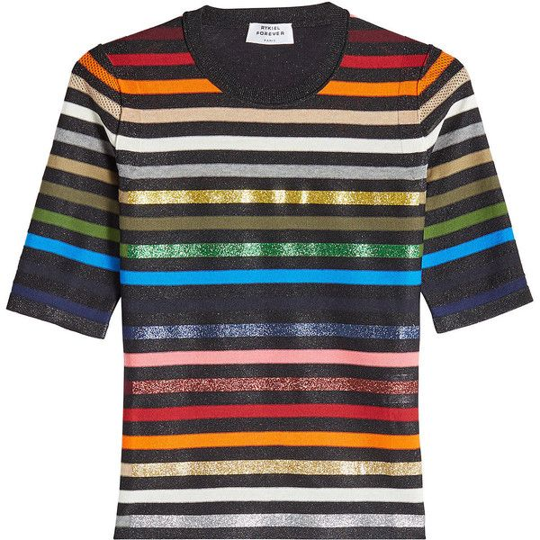 353f0e6860 Sonia Rykiel Metallic Striped Pullover ($605) ❤ liked on Polyvore featuring  tops, sweaters, multicolored, multi colored sweater, stripe sweaters, ...