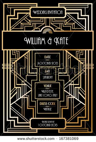 Art Deco Wedding Invitation Card Template Vector Illustration