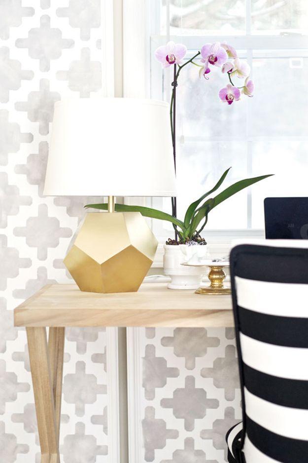 DIY Lighting Ideas -Gold Geometric Lamp | 15 Cool DIY Crafts for Spring http://diyready.com/15-cool-diy-crafts/ #diy #lighting