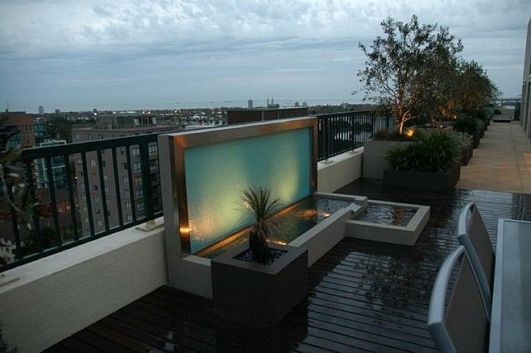 diseño fuente moderna terraza vistas Diseño Fuente de Agua