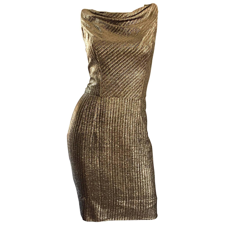 Amazing s gold bronze silk metallic late s vintage wiggle
